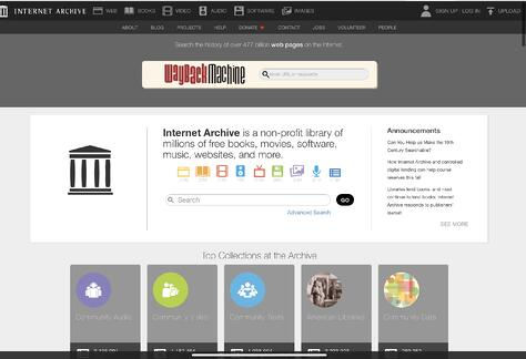 Internet Archive at archive.org