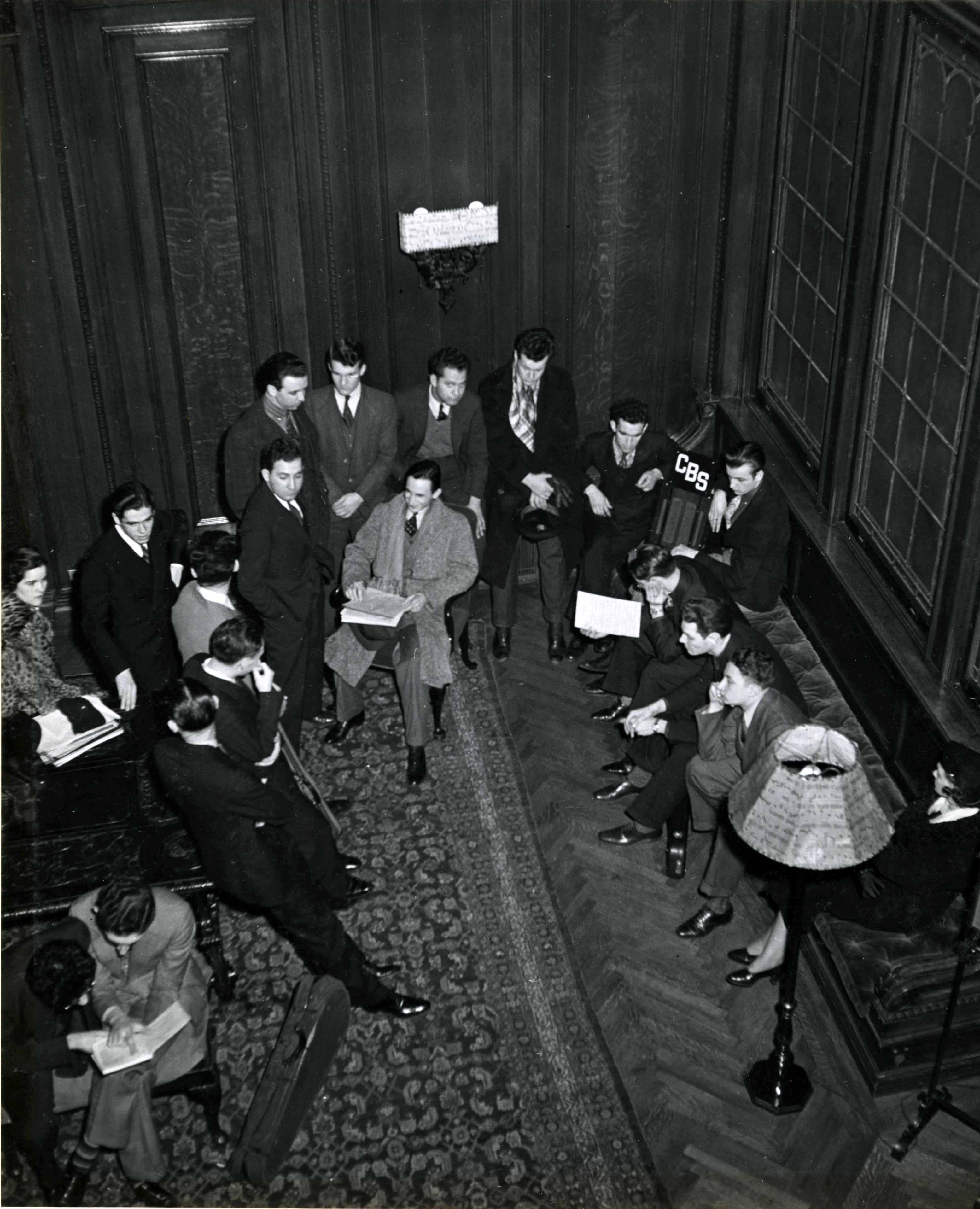 Students listening to the weekly Curtis radio broadcast in the Common Room, circa 1938