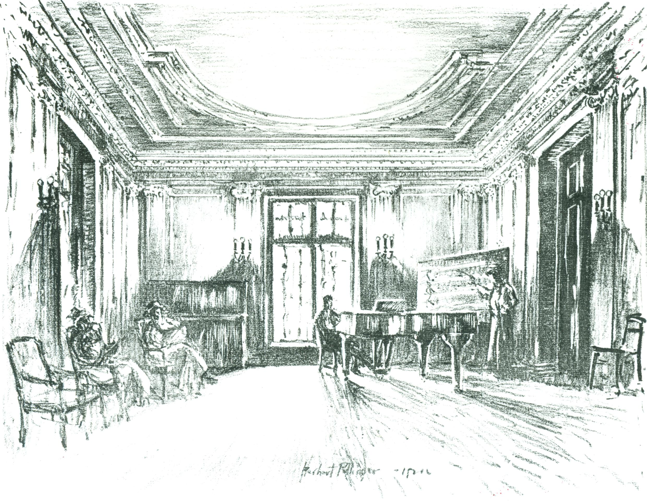 629T Curtis Library; Pollinger etching of Knapp Hall, circa 1925