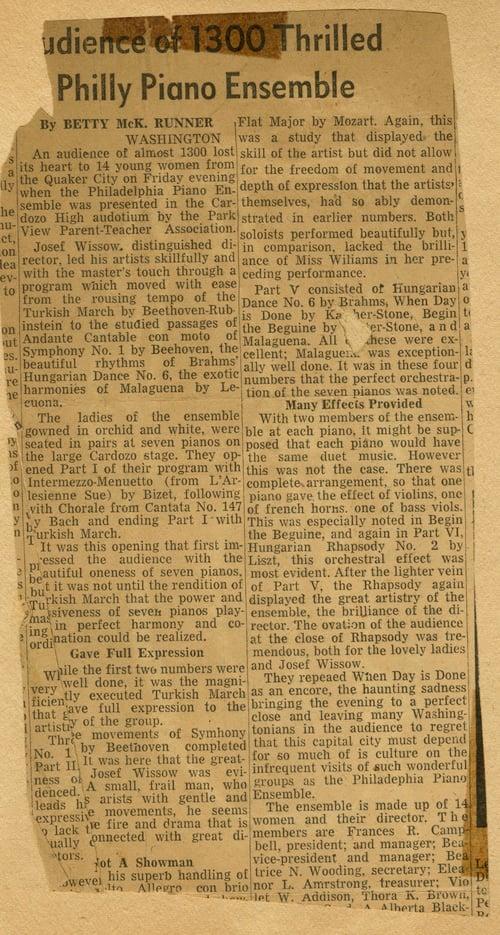 Review of Philadelphia Piano Ensemble, Washington D.C., circa 1940s. From the Ursula Curd Scrapbook 1910-1976