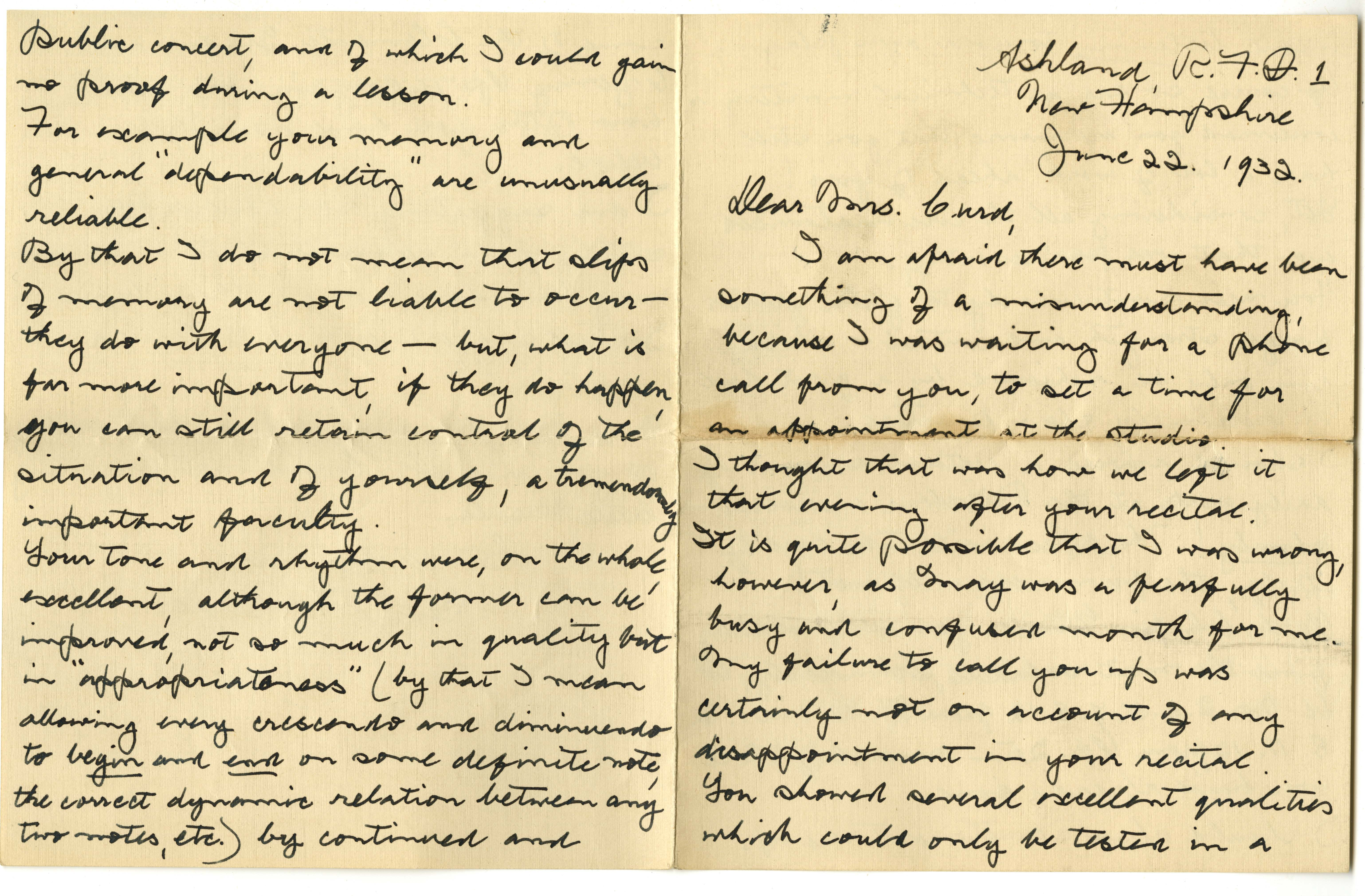 Page 1, letter from Curd's piano teacher, George Boyle, 1932. From the Ursula Curd Scrapbook 1910-1976