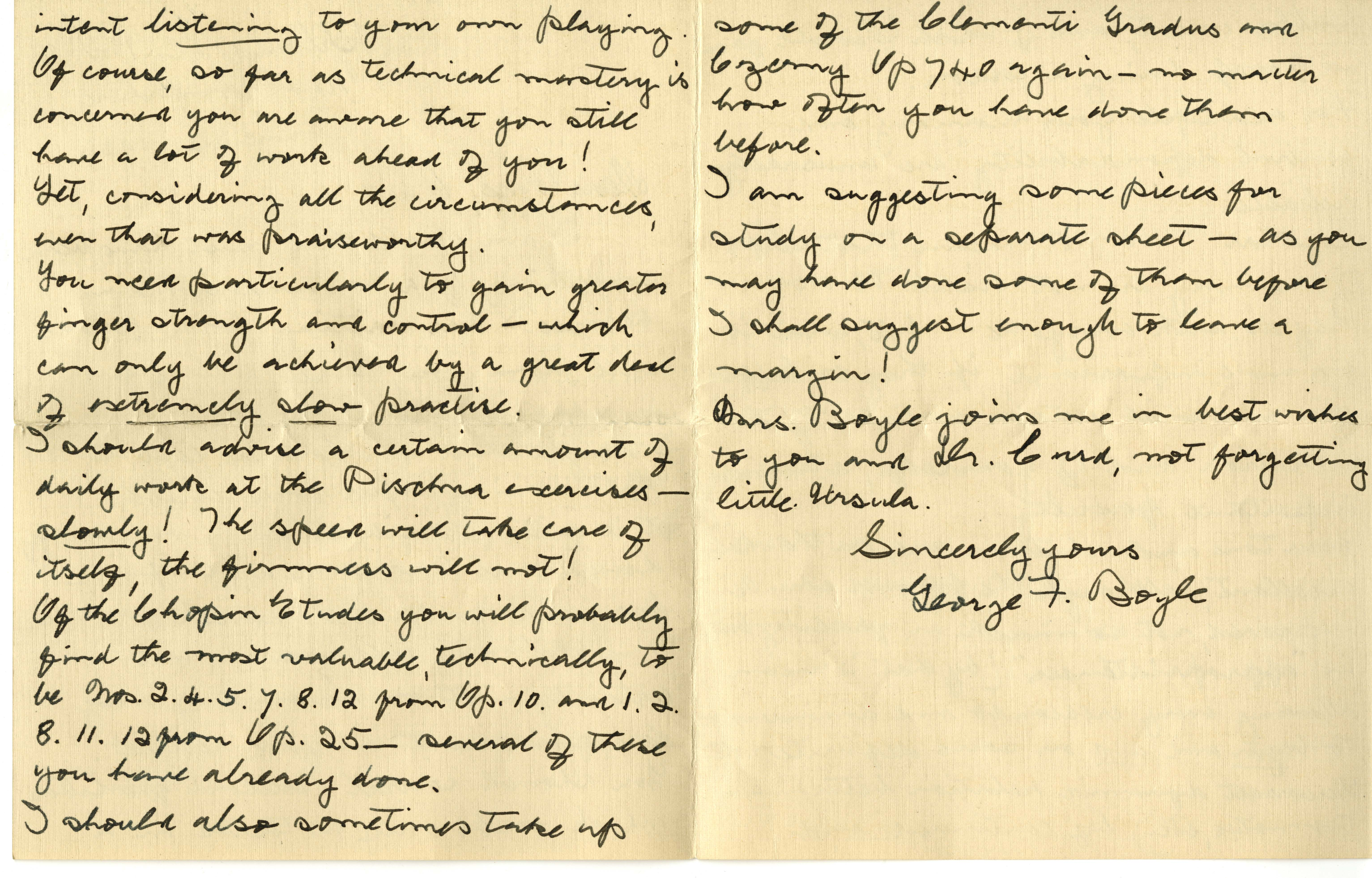 Page 2, letter from Curd's piano teacher, George Boyle, 1932. From the Ursula Curd Scrapbook 1910-1976