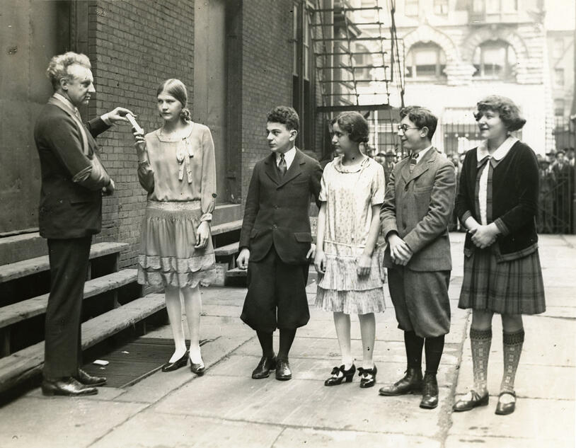 Lucie Stern (r) with Leopold Stokowski and Curtis classmates, 1925